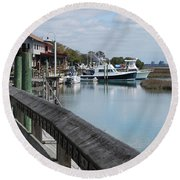 Inlet Fishing Fleet Round Beach Towel