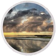 Inlet Sunrise Panorama Round Beach Towel