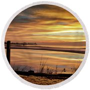 Inlet Watch At Dawn Round Beach Towel