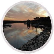 Inlet Sunset Round Beach Towel by Gordon Mooneyhan