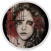 Round Beach Towel featuring the mixed media Inner Demons  by Sheena Pike