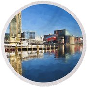 Inner Harbor Reflections  Round Beach Towel