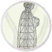 Inner Structure Of The Statue Of Liberty Round Beach Towel