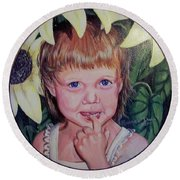 Innocence Under A Sunflower Round Beach Towel by Ruanna Sion Shadd a'Dann'l