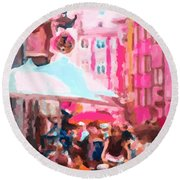 Round Beach Towel featuring the painting Innsbruck by Chris Armytage