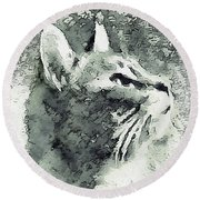 Inquisitive Cat Gray Scale Round Beach Towel