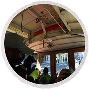 Inside A Cable Car Round Beach Towel by Steven Spak
