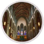 Inside Christchurch Cathedral Round Beach Towel