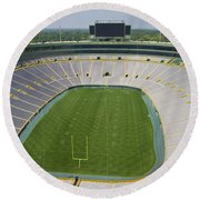 Round Beach Towel featuring the photograph Inside Lambeau Field by Joel Witmeyer