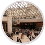 Round Beach Towel featuring the photograph Inside Louvre Museum Pyramid by Mark Czerniec