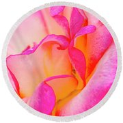 Inside Rose Petal Curves Round Beach Towel by Teri Virbickis