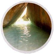 Inside The Baths On Virgin Gorda Round Beach Towel