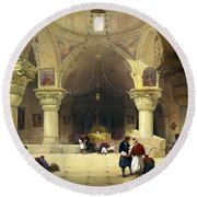 Inside The Church Of The Holy Sepulchre In Jerusalem Round Beach Towel