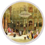 Inside The Church Of The Holy Sepulchre Round Beach Towel by Munir Alawi