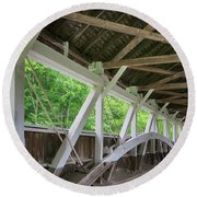 Inside The Covered Bridge Round Beach Towel