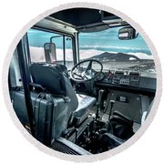 Inside The Etna Tour Unimog Round Beach Towel