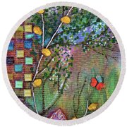 Inside The Garden Wall Round Beach Towel by Donna Blackhall