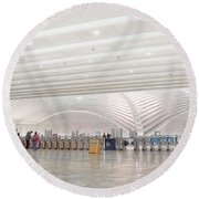 Inside The Oculus - New York City's Financial District Round Beach Towel