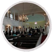 Inside The S. Georges Church Episcopal Anglican Round Beach Towel