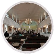 Inside The St. Georges Episcopal Anglican Church Round Beach Towel
