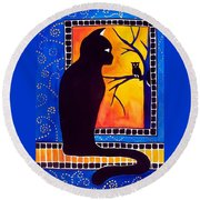 Insomnia - Cat And Owl Art By Dora Hathazi Mendes Round Beach Towel by Dora Hathazi Mendes