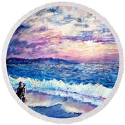 Inspiration-the Musician Round Beach Towel