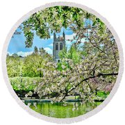 Inspirational - Cherry Blossoms Round Beach Towel