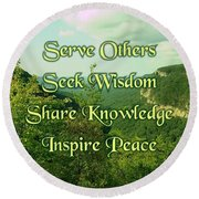 Inspire Peace Round Beach Towel