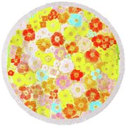 Round Beach Towel featuring the painting Inspired By Persimmon by Lorna Maza