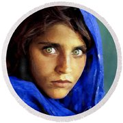 Inspired By Steve Mccurry's Afghan Girl Round Beach Towel