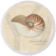 Inspired Coast Iv - Chambered Nautilus, Nautilus Pompilius Round Beach Towel by Audrey Jeanne Roberts