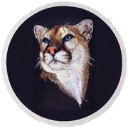Round Beach Towel featuring the drawing Intense by Barbara Keith