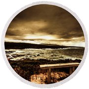 Intense Coastline Drama Round Beach Towel