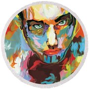 Intense Face 2 Round Beach Towel