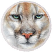 Intensity - Mountain Lion - Puma Round Beach Towel