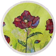 Intensity Of The Poppy I Round Beach Towel