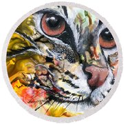 Round Beach Towel featuring the painting Intensity by Sherry Shipley