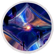 Round Beach Towel featuring the digital art Interdimensional Portal by Linda Sannuti