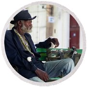 Round Beach Towel featuring the photograph Interesting Cuban Gentleman In A Park On Obrapia by Charles Harden