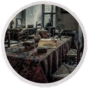 Interior Of A Room In A Medieval Castle Round Beach Towel