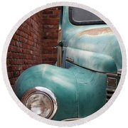 Round Beach Towel featuring the photograph International Truck 1 by Heidi Hermes