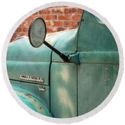 Round Beach Towel featuring the photograph International Truck Side View by Heidi Hermes