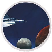 Interplanetary Travel Round Beach Towel