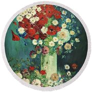 Interpretation Of Van Gogh Still Life With Meadow Flowers And Roses Round Beach Towel
