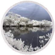 Intimate Lake In Infrared Round Beach Towel