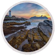Round Beach Towel featuring the photograph Into Portland Harbor by Rick Berk