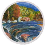 Into Slide Rock Round Beach Towel by Eric Samuelson