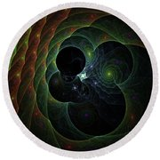 Round Beach Towel featuring the digital art Into Space And Time by Deborah Benoit
