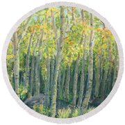 Into The Aspens Round Beach Towel