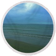 Round Beach Towel featuring the photograph Into The Blue by Anne Kotan